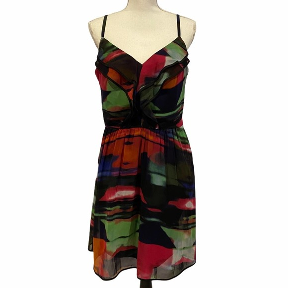 Jessica Simpson Ruffle Front Watercolor Dress 12